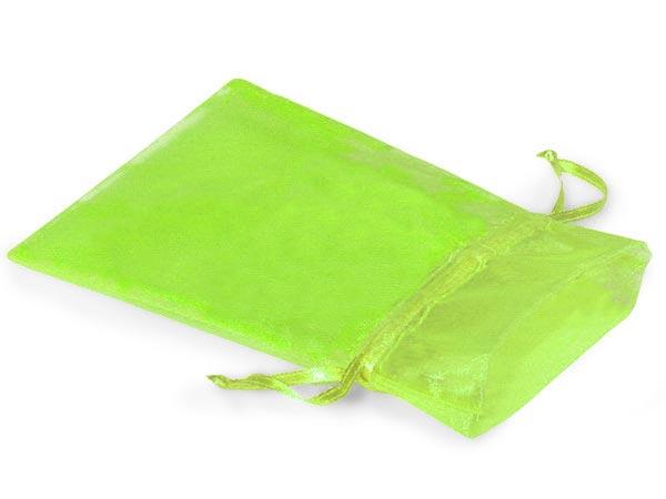 """Citrus Green Organza Favor Bags, 3x4"""", 10 Pack"""