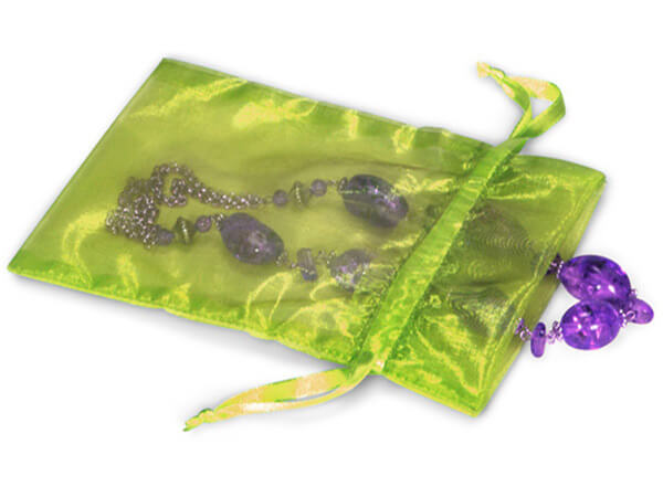 "Apple Green Organza Favor Bags, 3x4"", 10 Pack"