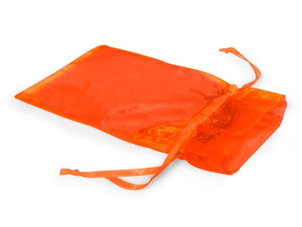 "Tropical Orange Organza Favor Bags, 3x4"", 10 Pack"