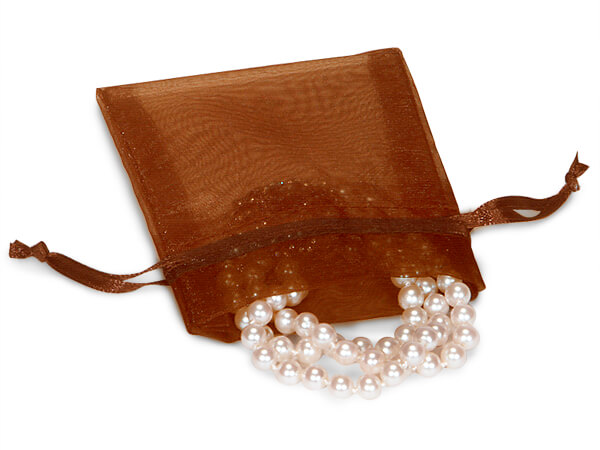 "Chocolate Brown Organza Favor Bags, 3x4"", 10 Pack"