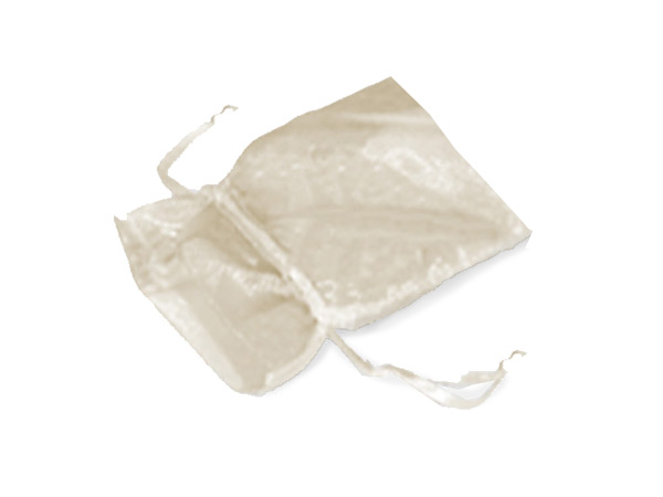 """Ivory Organza Favor Bags, 2x2.5"""", 10 Pack"""