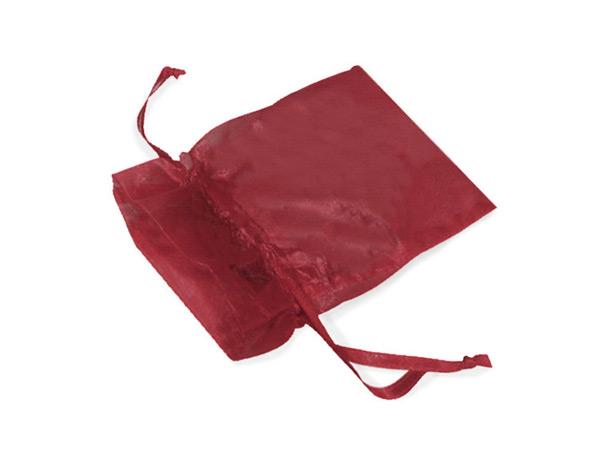 "*Burgundy Organza Favor Bags, 2x2.5"", 10 Pack"