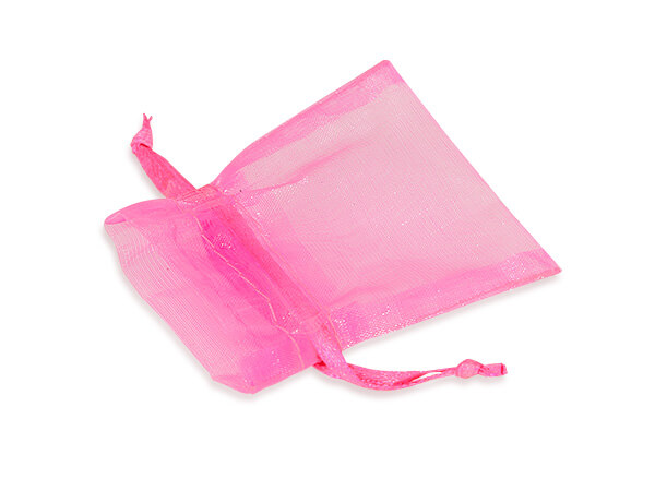 "Neon Pink Organza Favor Bags, 2x2.5"", 10 Pack"