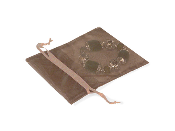 """Toffee Organza Favor Bags, 2x2.5"""", 10 Pack"""