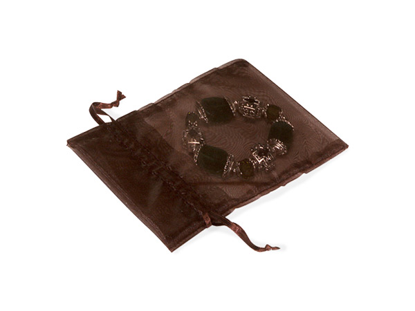 "*Chocolate Organza Bags 2x2-1/2"" 2x2.5"", 10 Pack"