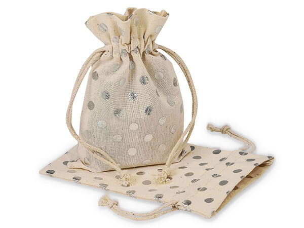 "Silver Polka Dot Cotton Favor Bags, 3.5x5"", 12 Pack"