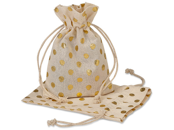 "Gold Polka Dot Cotton Favor Bags, 3.5x5"", 12 Pack"