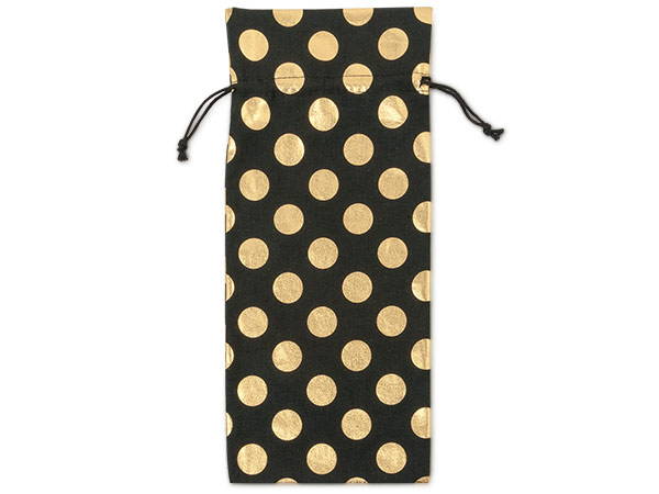 """Black Bags with Gold Dots, Wine 6x14"""", 6 Pack"""