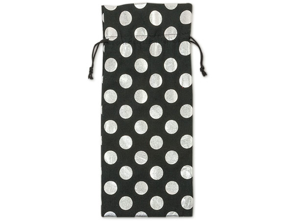 "**Black Bags with Silver Dots, Wine 6x14"", 6 Pack"