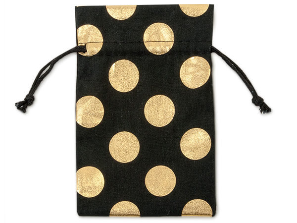 "**Black Bags with Gold Dots, Small 4x6"", 12 Pack"