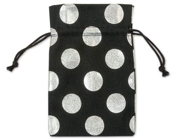 "*Black Bags with Silver Dots, Small 4x6"", 12 Pack"