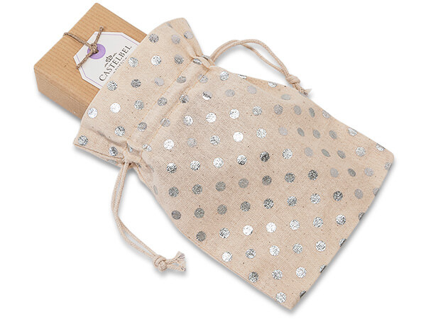 "Silver Polka Dot Cotton Favor Bags, 5x7"", 12 Pack"