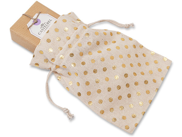 """Gold Polka Dot Cotton Favor Bags, 5x7"""", 12 Pack"""