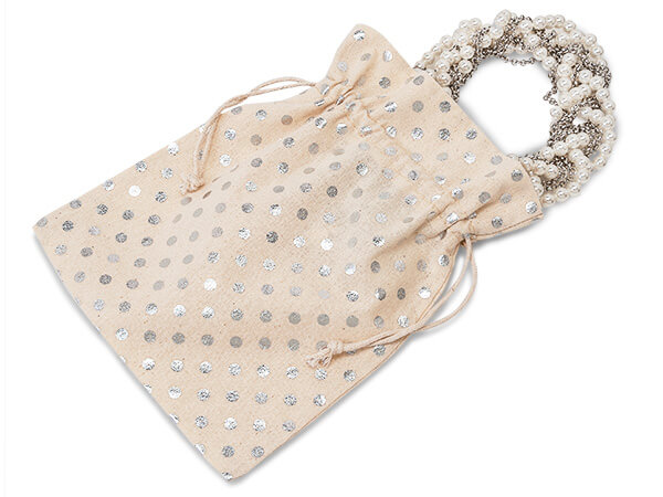 "*Silver Polka Dot Cotton Favor Bags 7x9"" 6 Pack"