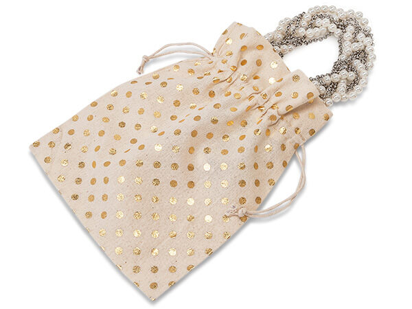 "Gold Polka Dot Cotton Favor Bags, 7x9"" 12 Pack"