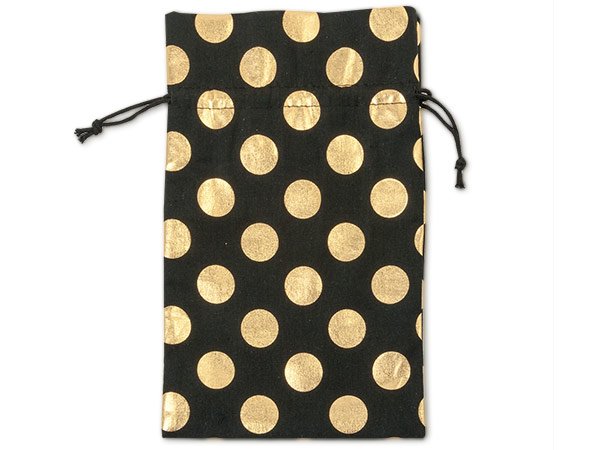 "Black Bags with Gold Dots, Medium 6x10"", 6 Pack"