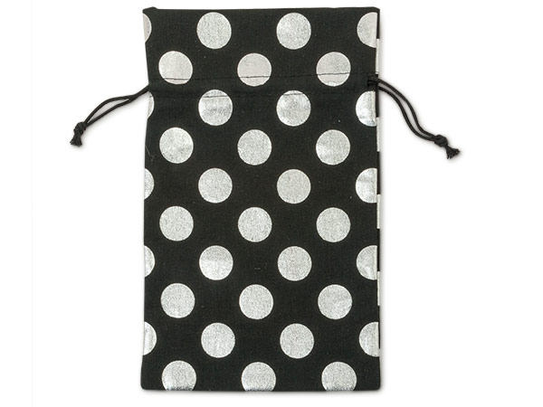 "*Black Bags with Silver Dots, Medium 6x10"", 6 Pack"