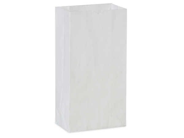 "White Kraft Gift Sack, 2 lb Bag 4.25x2.25x8"", 500 Pack"
