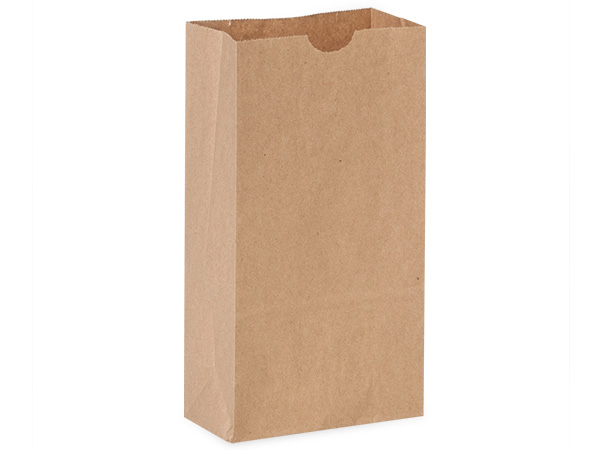 "Recycled Brown Kraft Gift Sack, 4 lb Bag 5x3x9.5"", 50 Pack"