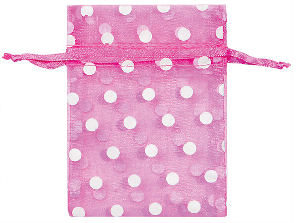 "White Polka Dots on Pretty Pink Organza Favor Bags, 3x4"", 10 Pack"