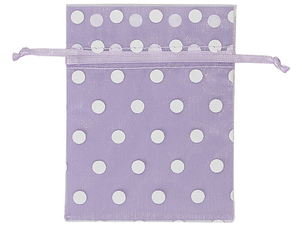 "*White Polka Dots on Lavender Organza Favor Bags, 3x4"", 10 Pack"