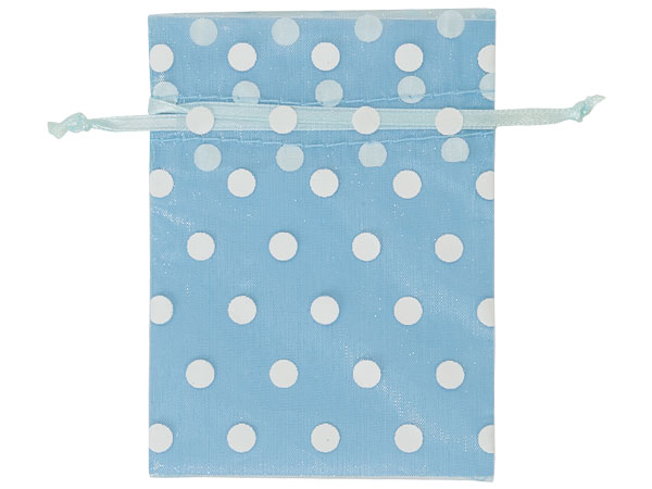 "*White Polka Dots on Light Blue Organza Favor Bags, 3x4"", 10 Pack"
