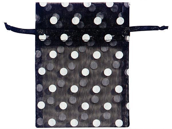 """White Polka Dots on Black Organza Favor Bags, 3x4"""", 10 Pack"""