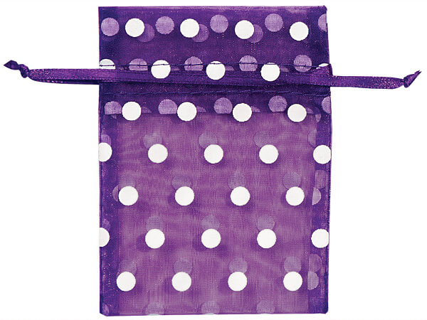 "White Polka Dots on Purple Punch Organza Favor Bags, 3x4"", 10 Pack"