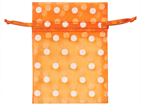 "*White Polka Dots on Tropical Orang Organza Favor Bags, 3x4"", 10 Pack"