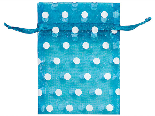 "White Polka Dots on Vivid Turquoise Organza Favor Bags, 3x4"", 10 Pack"