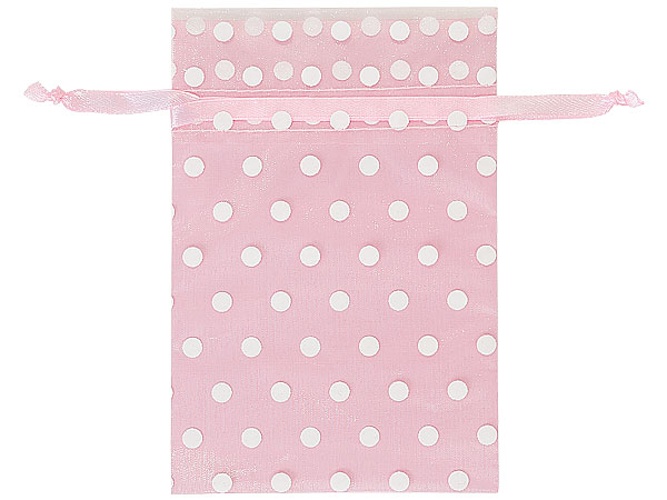 "*White Polka Dots on Pink Organza Favor Bags, 4x6"", 10 Pack"