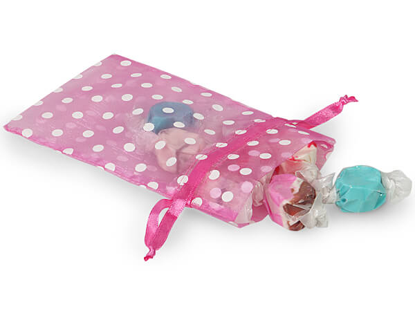 "White Polka Dots on Pretty Pink Organza Favor Bags, 4x6"", 10 Pack"