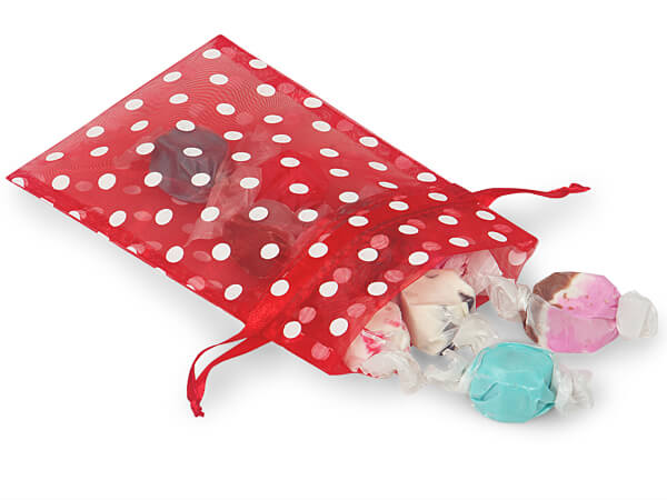 White Dots on Red Organza Favor Bags