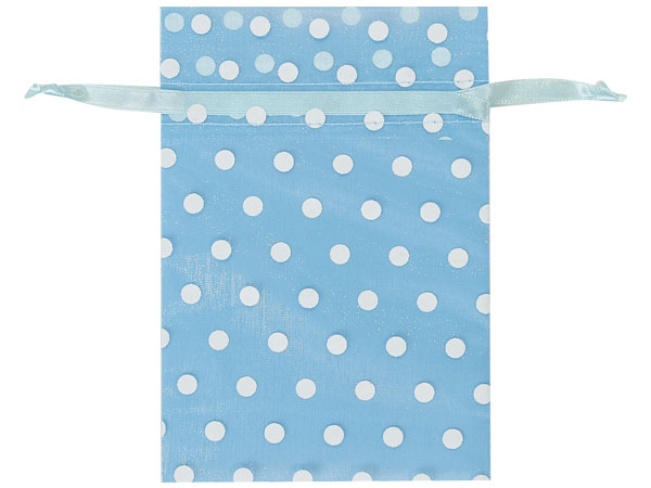 "**White Polka Dots on Light Blue Organza Favor Bags, 4x6"", 10 Pack"