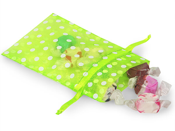 """White Polka Dots on Citrus Cheer Organza Favor Bags, 4x6"""", 10 Pack"""