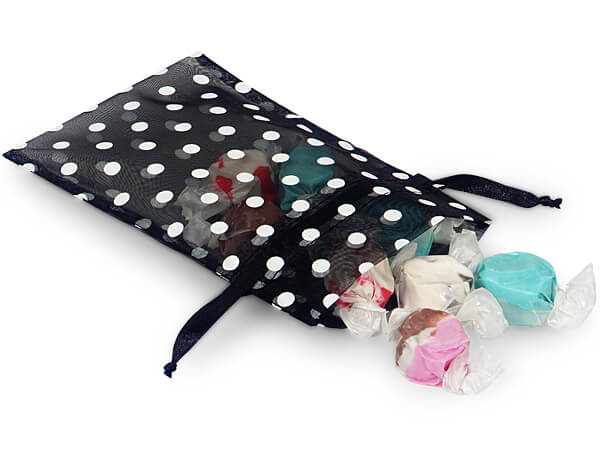 "White Polka Dots on Black Organza Favor Bags, 4x6"", 10 Pack"