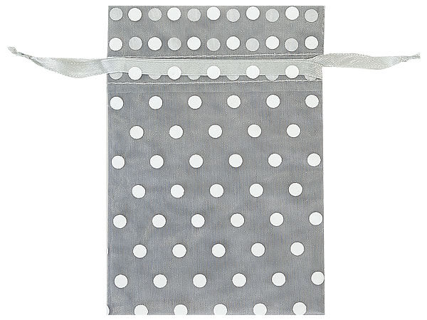 """*White Polka Dots on Silver Organza Favor Bags, 4x6"""", 10 Pack"""