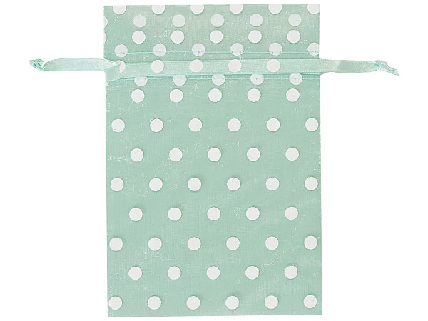 """*White Polka Dots on Cool Mint Organza Favor Bags, 4x6"""", 10 Pack"""