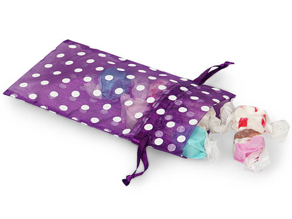"""White Polka Dots on Purple Punch Organza Favor Bags, 4x6"""", 10 Pack"""
