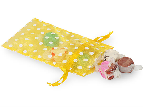 White Dots on Yellow Organza Favor Bags