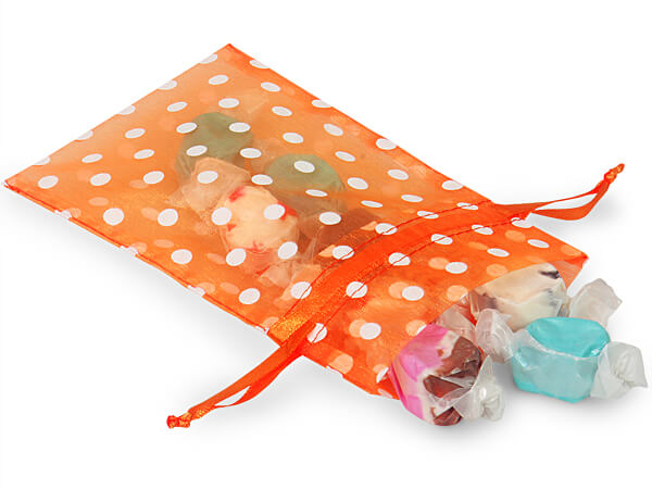 White Dots on Tropical Orange Organza Favor Bags