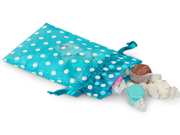 White Dots on Turquoise Organza Favor Bags