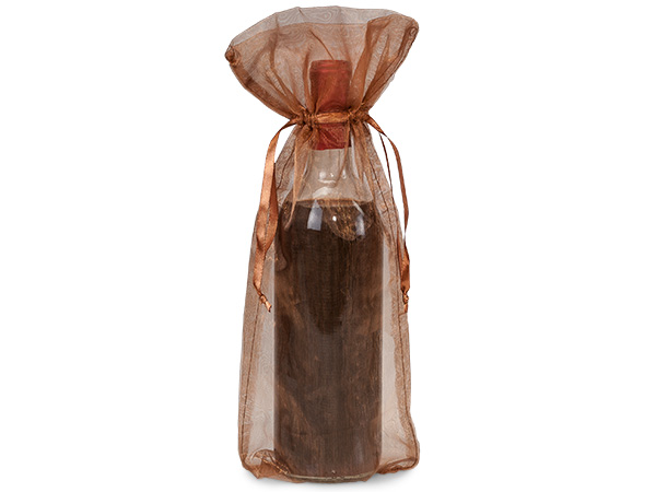 "Copper Organza Wine Bags, 6.5x15"", 10 Pack"