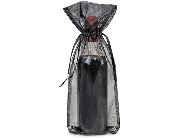 "Black Organza Wine Bags, 6.5x15"", 10 Pack"