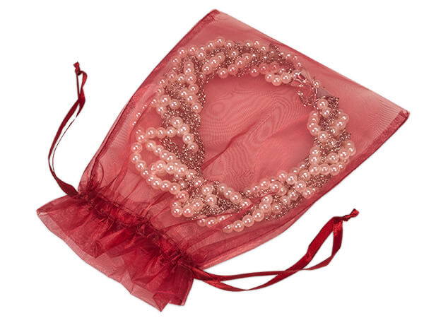 "Burgundy Organza Favor Bags, 7x9"", 10 Pack"