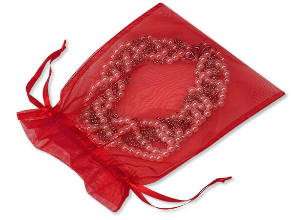 """Red Organza Bags 7x9"""" 7x9"""", 10 Pack"""