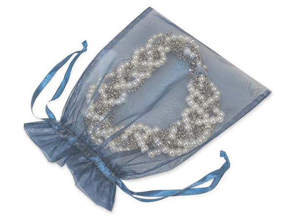 "Navy Blue Organza Favor Bags, 7x9"", 10 Pack"