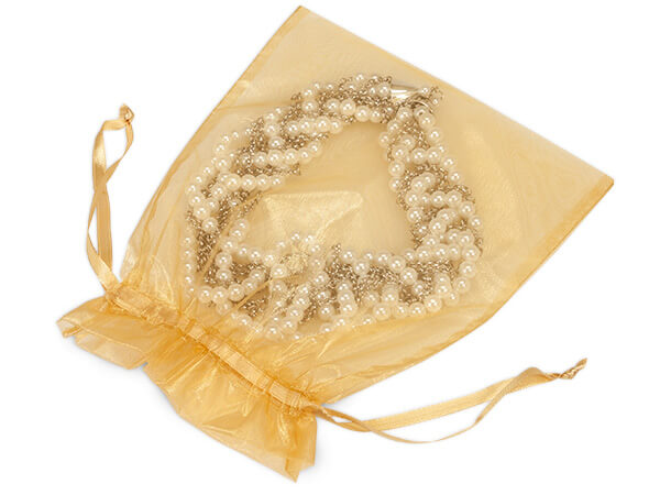 "Gold Organza Favor Bags, 7x9"", 10 Pack"