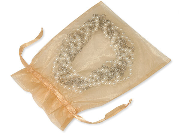 "Champagne Organza Favor Bags, 7x9"", 10 Pack"