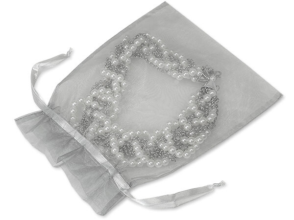 "Silver Organza Favor Bags, 7x9"", 10 Pack"